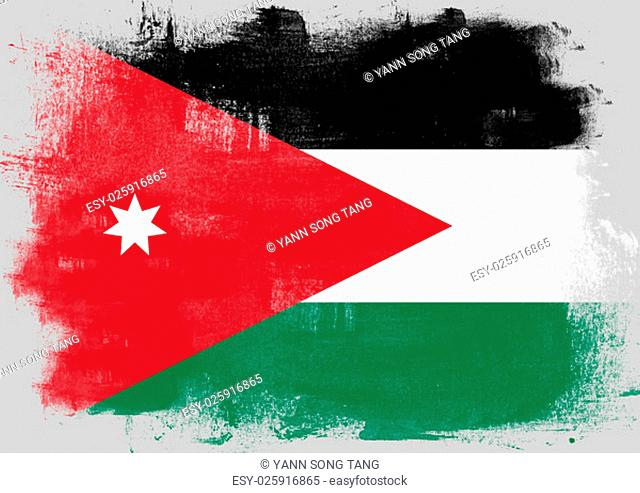 Flag of Jordan painted with brush on solid background