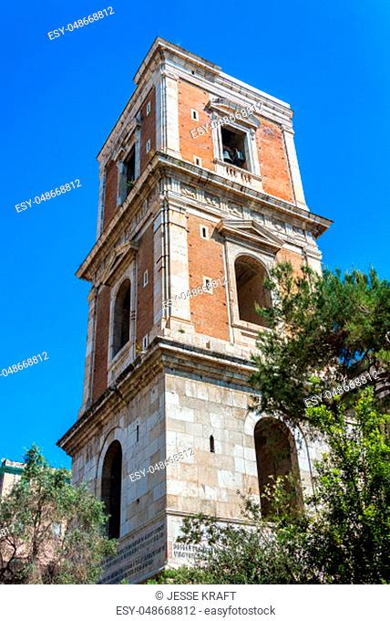 Old bell tower of Santa Marta Church in historic Naples, Italy