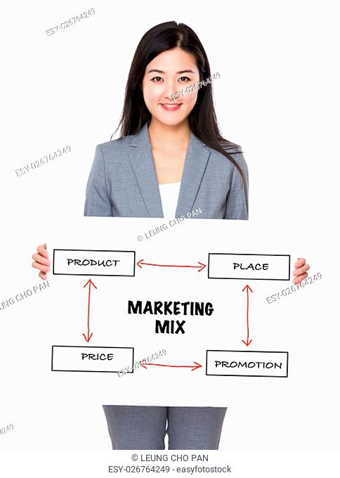Asian businesswoman holding a board presenting business mix concept