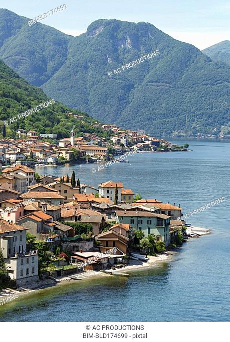 Aerial view of Lake Como and Tremezzo waterfront, Italy