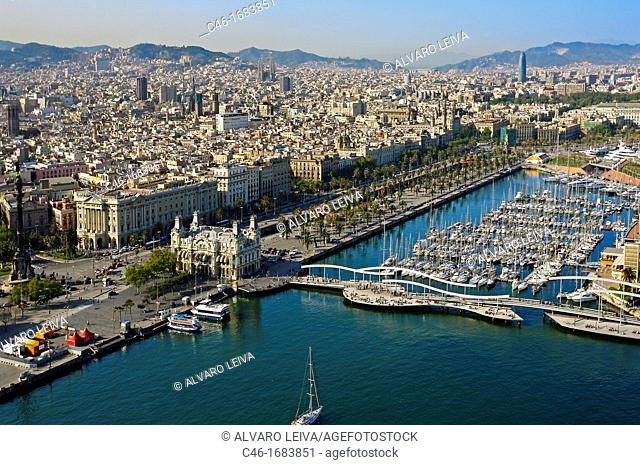 Moll d Espanya  Rambla de Mar and Port Authority building  Maremagnum  Barcelona  Catalonia  Spain