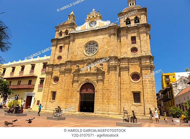 Cloister and Church of San Pedro Claver in the ancient walled city of Cartagena de Indias. Cartagena, Colombia