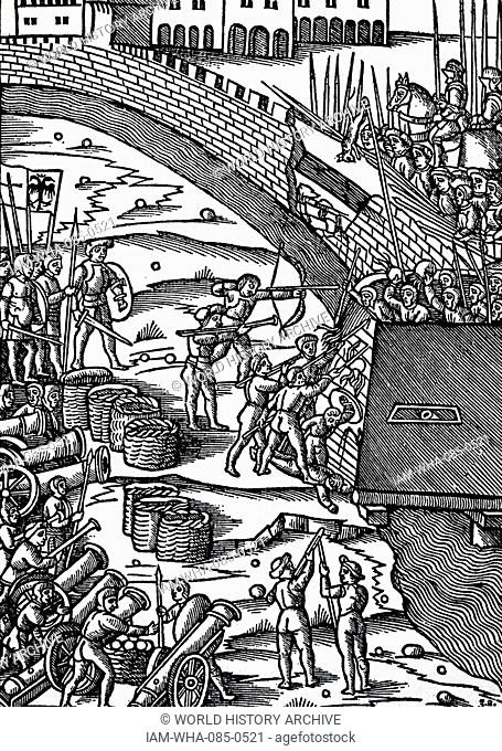 Woodcut depicting a battle scene which includes weapons such as, cannons, bows, arrows, lances, and heavy armour of the old order. Dated 16th Century