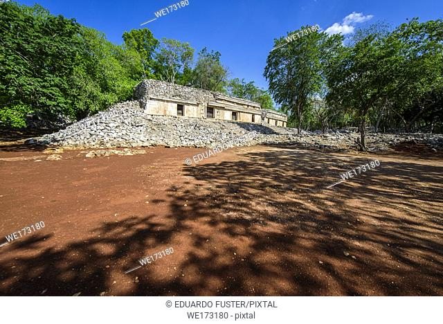 El Palacio in the mayan archeological site of Chunhuhub, Campeche (Mexico)