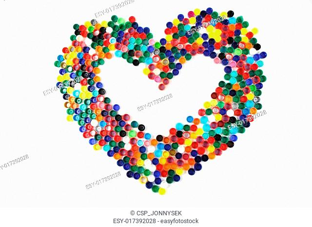 heart from the color plastic caps