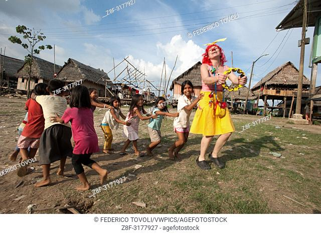 The large group of clowns visiting Belen during the days of the festival. Peru