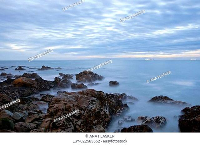 Long exposure of sea with rocks