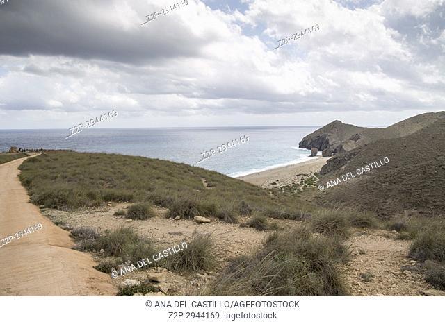 Playa de los Muertos famous beach in Cabo de Gata natural park in Almeria Andalusia Spain
