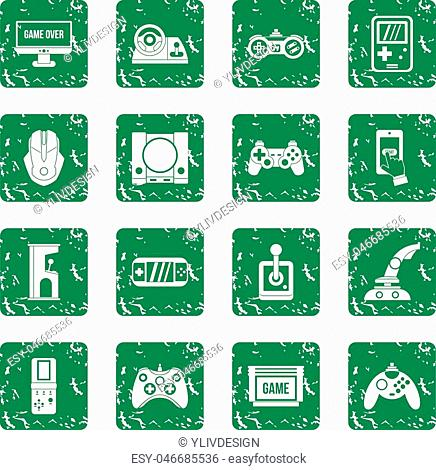 Video game icons set in grunge style green isolated vector illustration