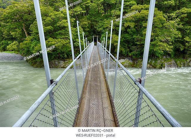 Bridge over Makarora River near Haast highway, South Island, New Zealand