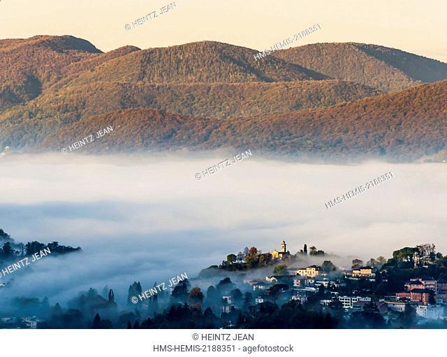 Switzerland, Ticino, Lugano, mist on the city