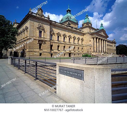 Federal Court House and Beethoven Bridge, Leipzig, Saxony, Germany
