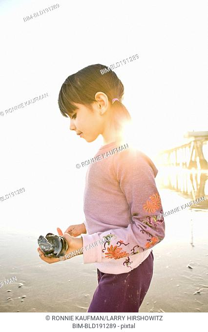 Hispanic girl gathering shells on beach