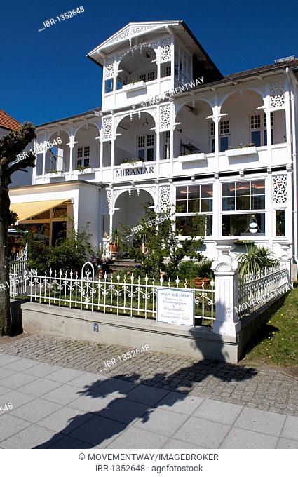 Resort architecture on Wilhelmstrasse, Miramar, Baltic Sea resort town of Sellin, Isle of Ruegen, Mecklenburg-Western Pomerania, Germany, Europe