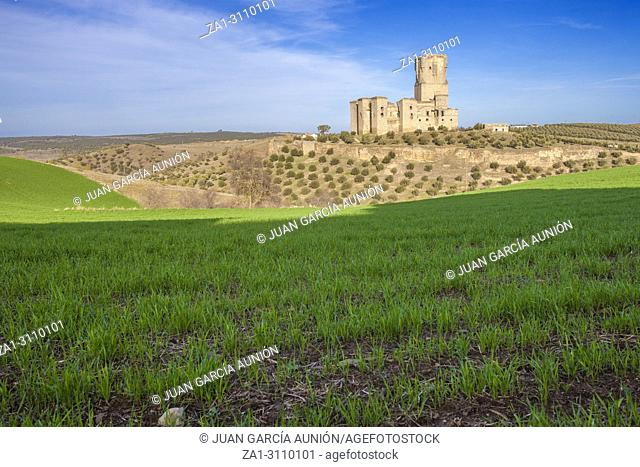 Belalcazar Castle from green cereals field, Cordoba, Spain. With the highest tower in Spain