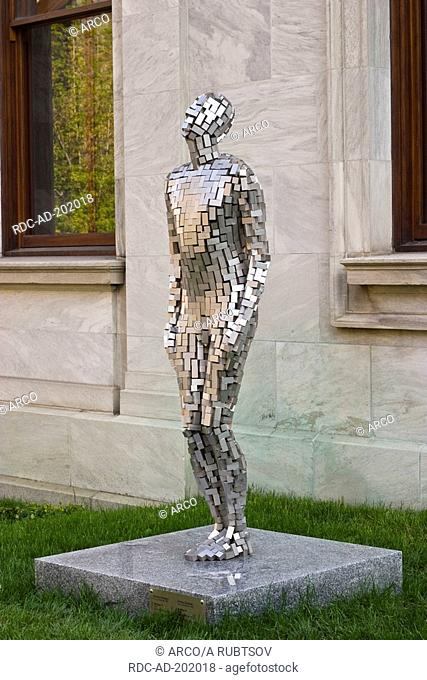 Sculpture Building VI, by Antony Gormley, museum Musee des beaux-arts de Montreal, Montreal, Quebec, Canada, Stainless steel
