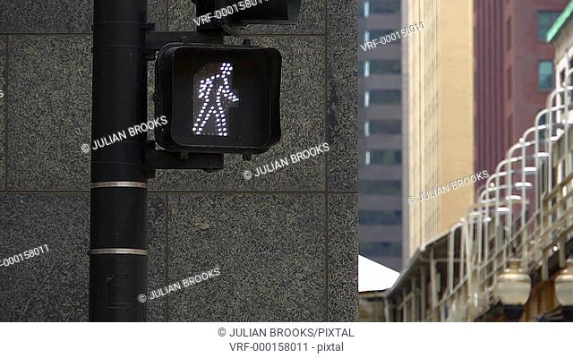 Pedestrian crossing sign in Chicago Illinois - 2