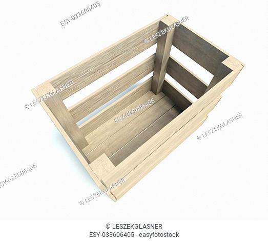 3d Empty wooden crate isolated on white