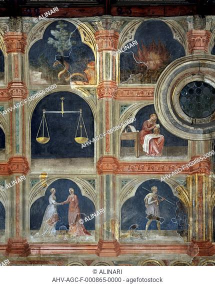 Detail of the fresco cycle which decorates the Salone of Palazzo della Ragione in Padua. The complex work of Giottesque School depicts 'The life of man...
