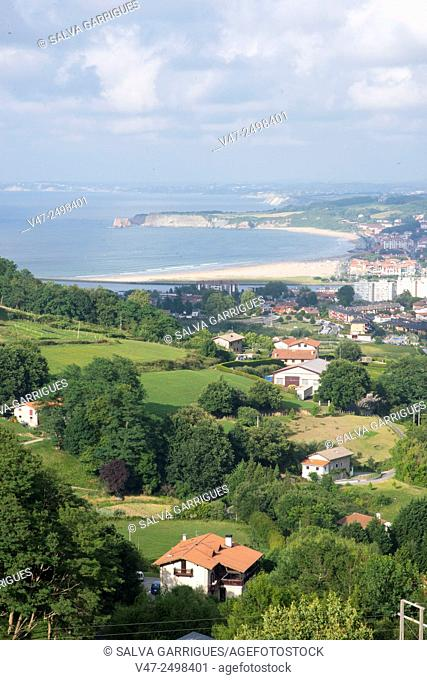 View of the Bay of Biscay from the mountains of Irun, Guipuzcoa, Spain, Europe