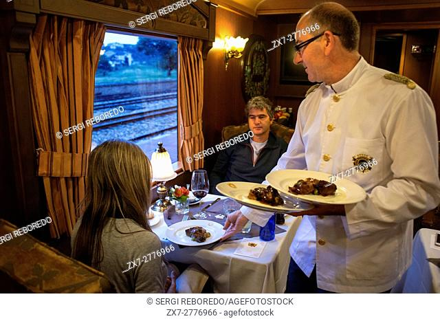 Inside of Transcantabrico Gran Lujo luxury train travellong across northern Spain, Europe. Interior of restaurant car