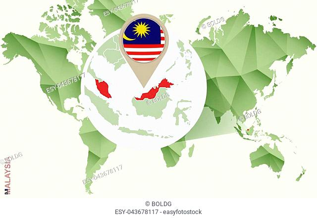 Infographic for Malaysia, detailed map of Malaysia with flag. Vector Info graphic green map
