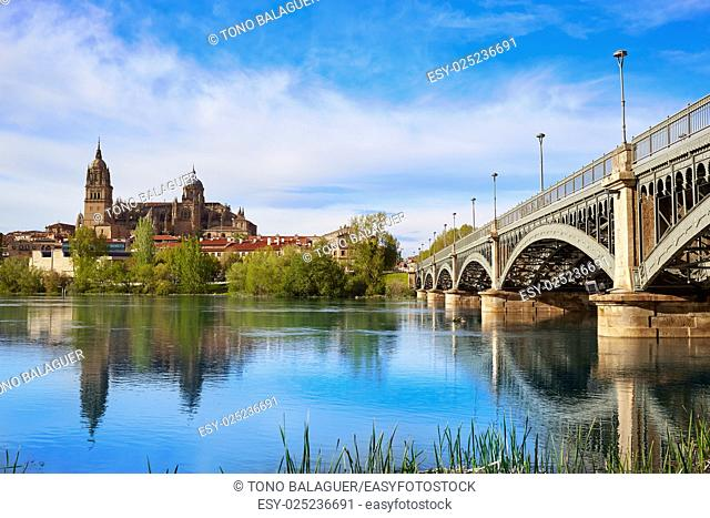 Salamanca skyline in Enrique Estevan bridge over Tormes river in Spain