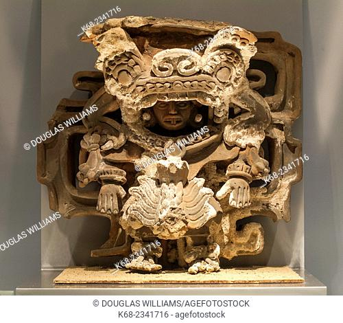 Art in the museum at Cacaxtla archaeological site, Tlaxcala State, Mexico