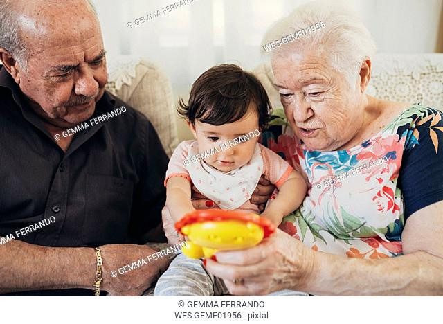 Great-grandparents sitting with baby girl on the couch at home looking at toy
