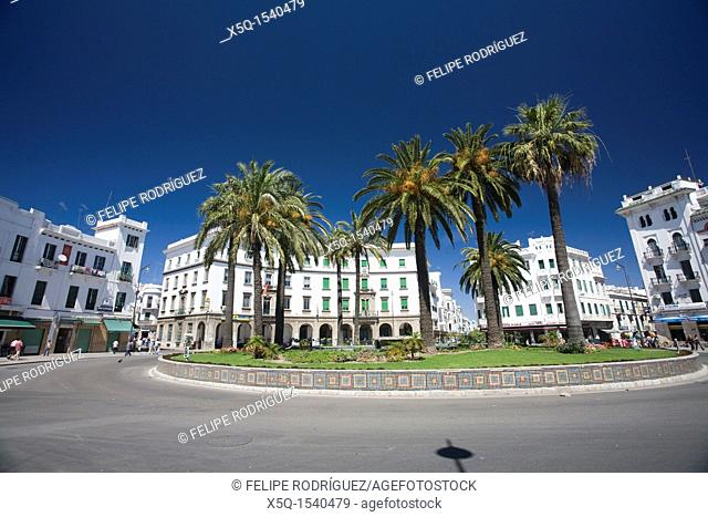 View of Hassan II square, formerly Spain Square, in the Spanish quarter of Tetouan, Morocco