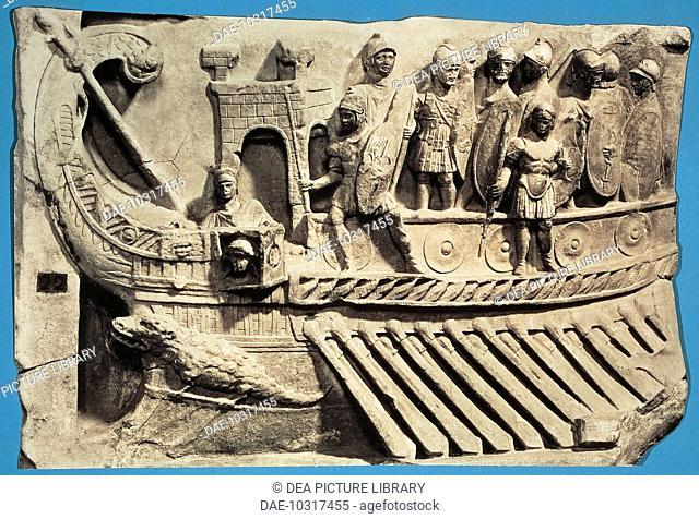 Roman civilization. Bireme war ship, relief from the Temple of Fortuna Primigenia at Praeneste (Palestrina, Lazio Region, Italy)