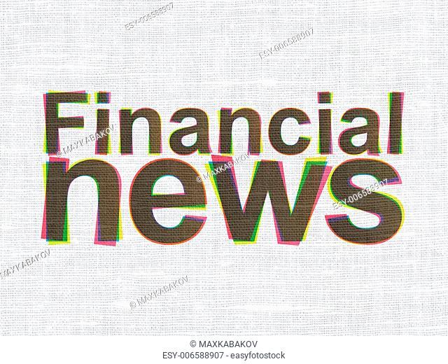 News concept: CMYK Financial News on linen fabric texture background, 3d render