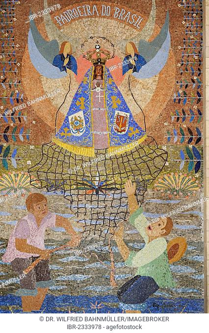 Mary, Madonna saving the people, mankind, mosaic from Brazil, Basilica of the Annunciation, Nazareth, Galilee, Israel, Middle East