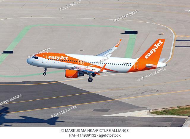 Palma de Mallorca, Spain - May 11, 2018: EasyJet Airbus A320 airplane at Palma de Mallorca Airport (PMI) in Spain. | usage worldwide