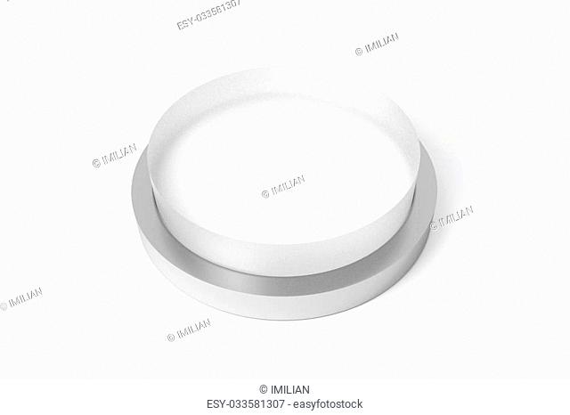 big round white button transparent on white surface