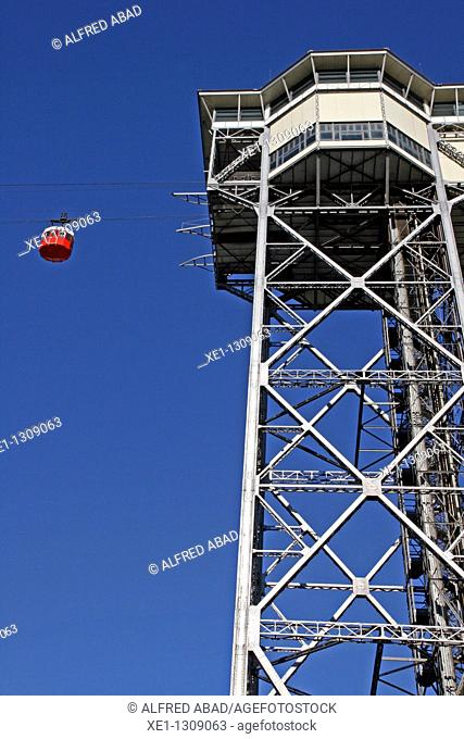 Aerial tramway, Port Vell, Barcelona, Catalonia, Spain