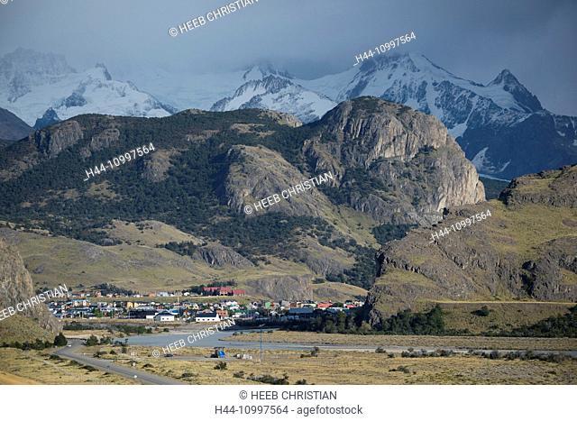 South America, Argentina, Patagonia, Santa Cruz, El Chalten, town of El Chalten