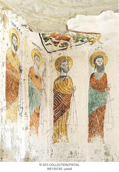 From left to right: the Ethiopian Christian monk Stephen and Melchizedek a mythical king and priest mentioned in the bible, Moses and Aaron