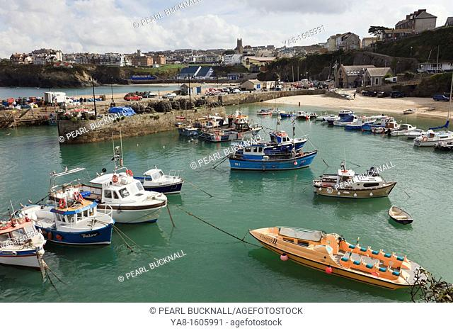 Newquay, Cornwall, England, UK, Great Britain, Europe  View to the Cornish town with fishing boats moored in the harbour