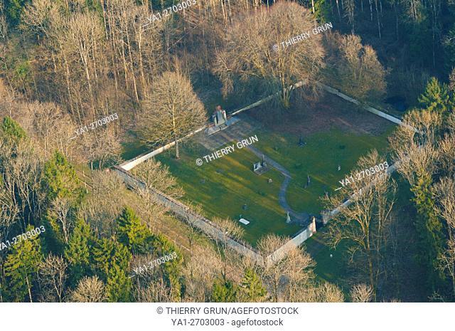 France, Meuse (55), Verdun, WWI battle fields, detroyed village of Beaumont en Verdunois, cemetery (aerial view)