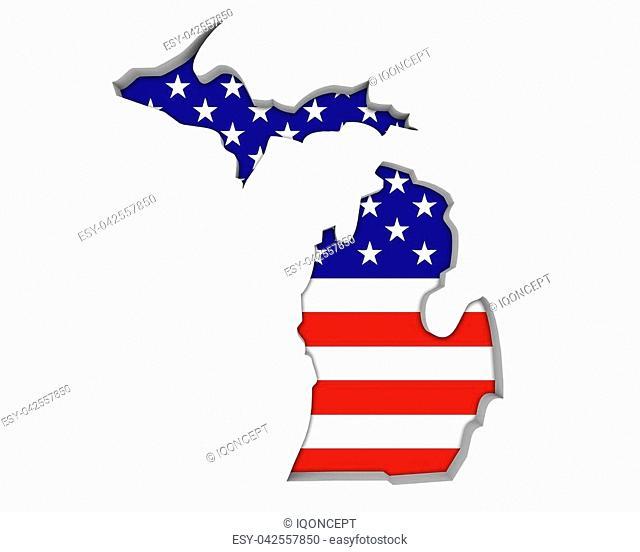 Michigan MI USA Flag Stars Stripes Map 3d Illustration