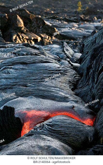 Molten pahoehoe type lava flowing from a crack in the East Rift Zone towards the sea, lava field of the Kilauea shield volcano, Hawai'i Volcanoes National Park