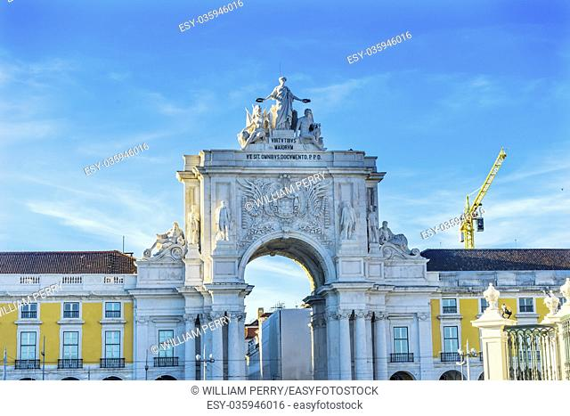 Rua Augusta Arch Baixa Praca de Comercio Palace Square Lisbon Portugal. Arh created 1755 to commemorate city's reconstuctrion under1755 earthquake
