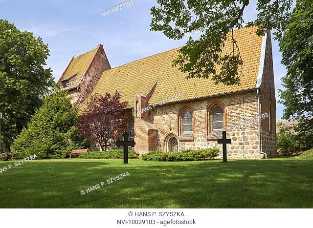 Village church of Mellenthin, Usedom, Mecklenburg-Western Pomerania, Germany
