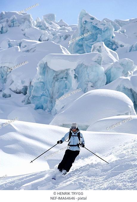 Skier going downhill Chamonix France