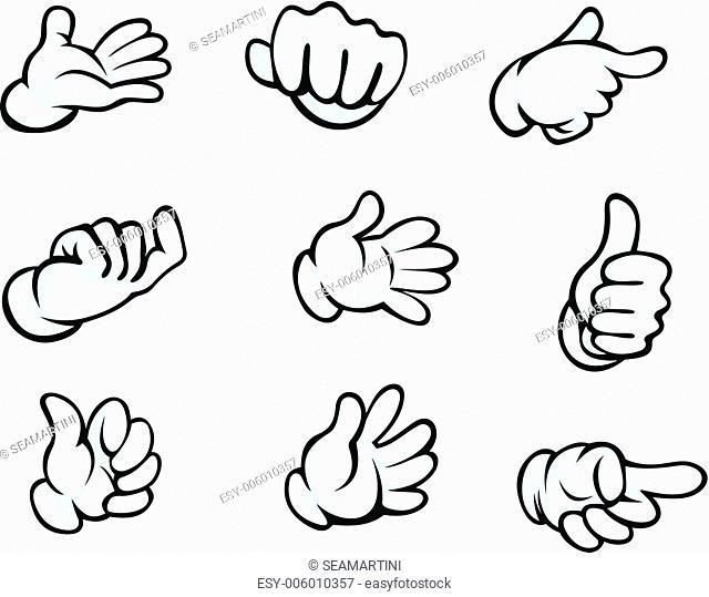 Set of hand gestures in cartoon style for comics design