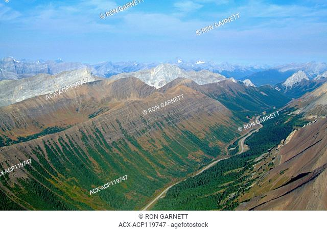 aerial, Highway 40, Kananaskis, Alberta