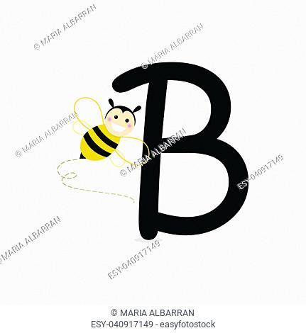 Alphabet. B of Bee. Flat vector illustration