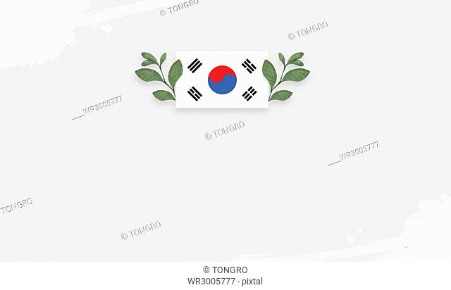 Korean national flag with plants, Korean Liberation Day