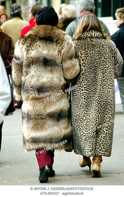 Women wearing fur coats